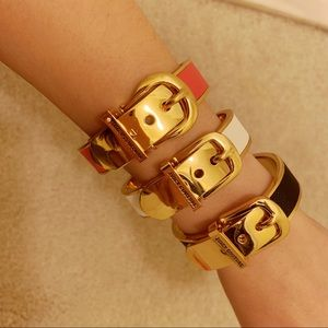3 Juicy Couture Leather Buckle Bangles